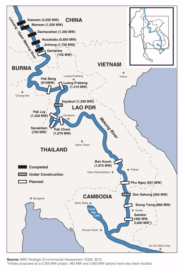 Lower Mekong: dams_map_june2017